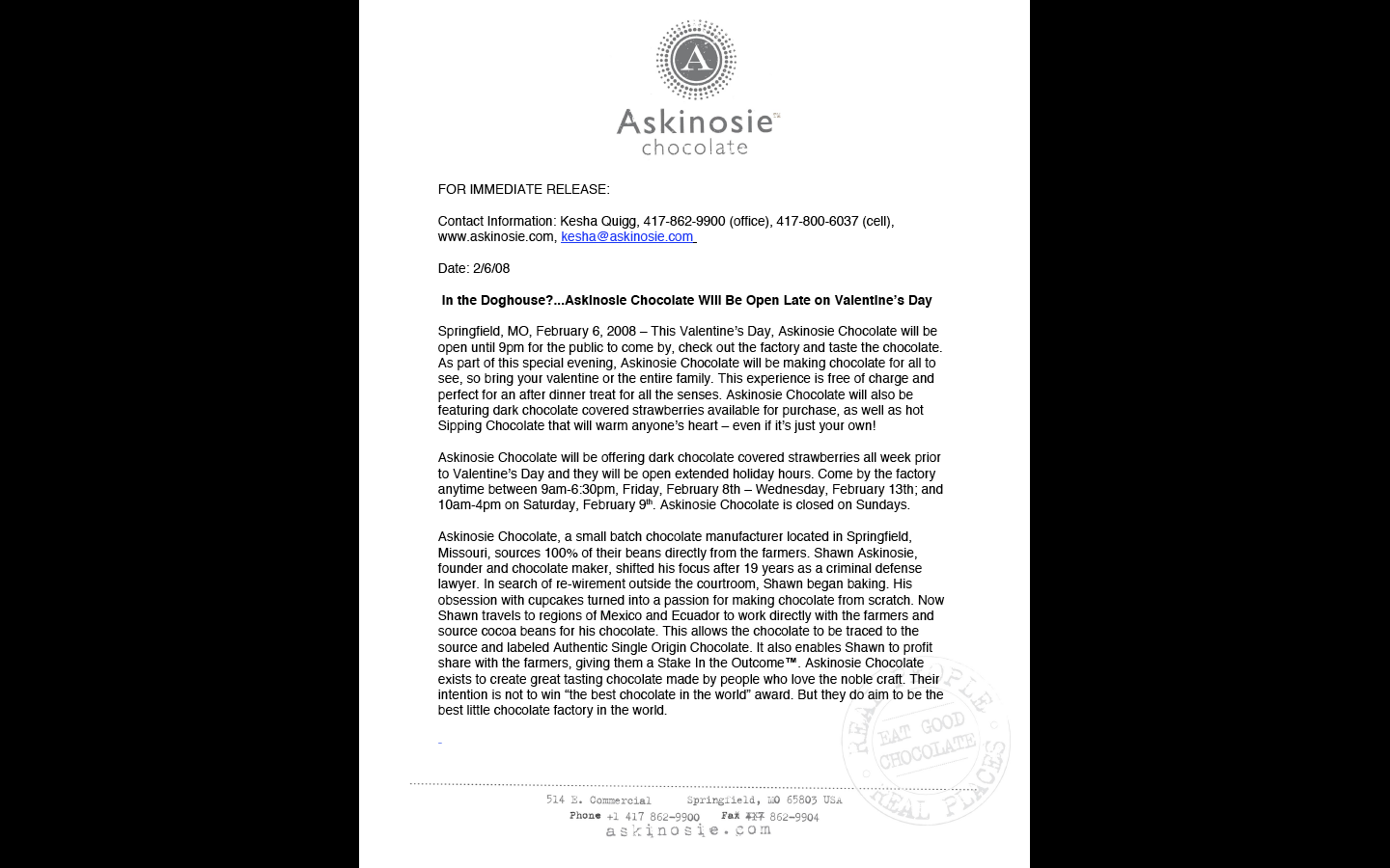 Askinosie Chocolate: Newsletter Copy and Press Releases by Lanie ...